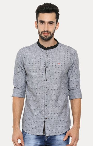 With | Grey Patterned Casual Shirt