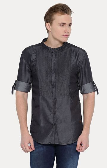 With | Charcoal Solid Casual Shirt