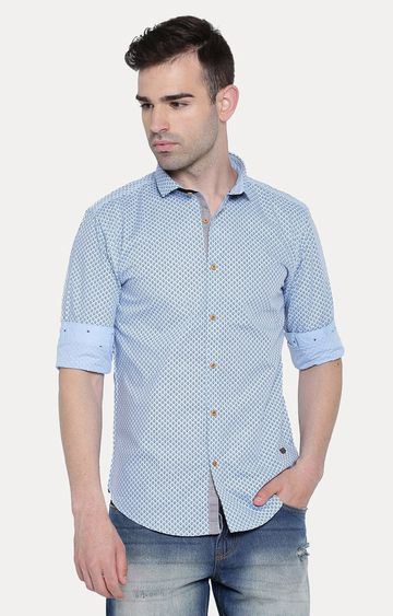 With | Blue Patterned Casual Shirt