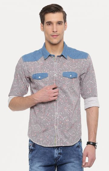 With | Grey and Red Printed Casual Shirt