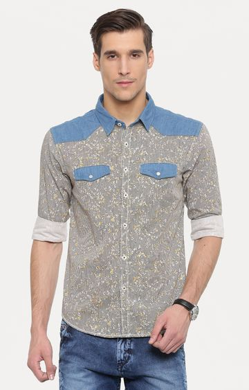 With | Grey and Yellow Printed Casual Shirt