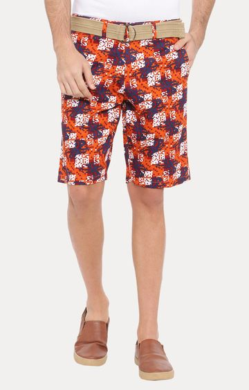 With | Orange Printed Shorts