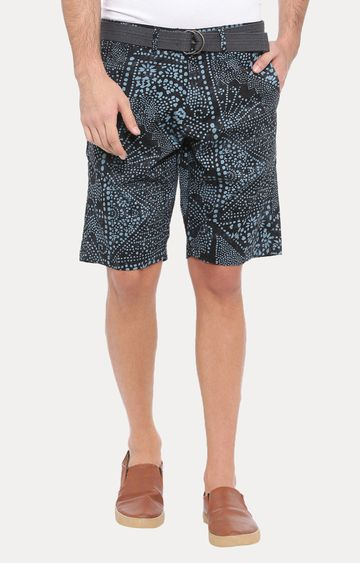 With | Dark Blue Printed Shorts