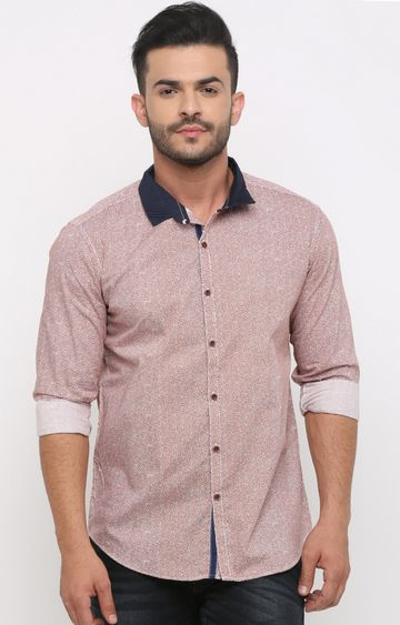 With | Orange Printed Casual Shirt