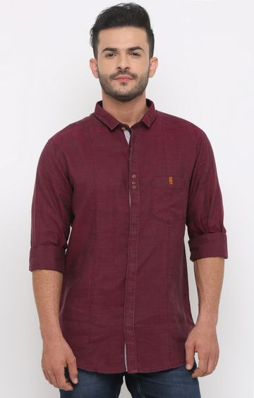 With | Wine Melange Casual Shirt