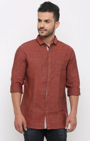 With | Rust Melange Casual Shirt