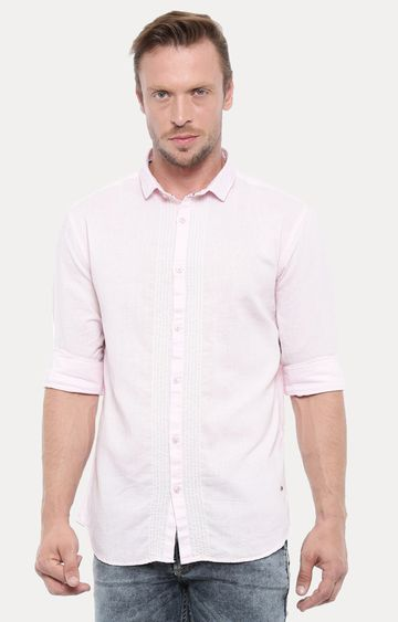 With | Light Pink Solid Casual Shirt