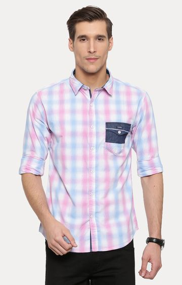 With | Pink and White Checked Casual Shirt