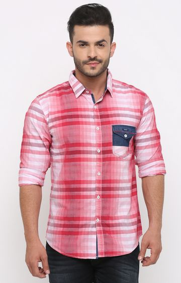 With | Red Checked Casual Shirt