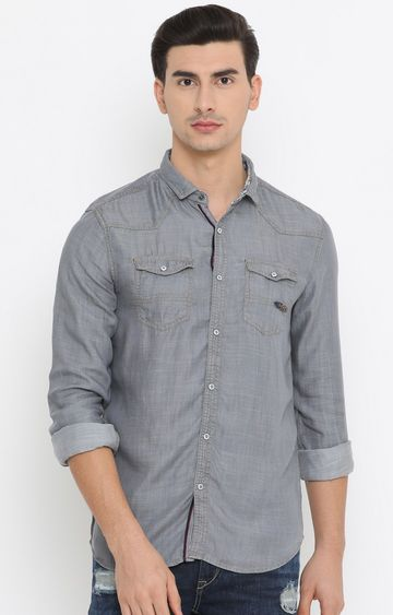 With | Grey Solid Casual Shirt