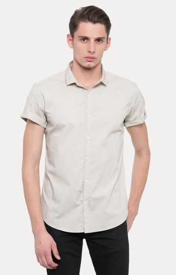 With | Beige Solid Casual Shirt