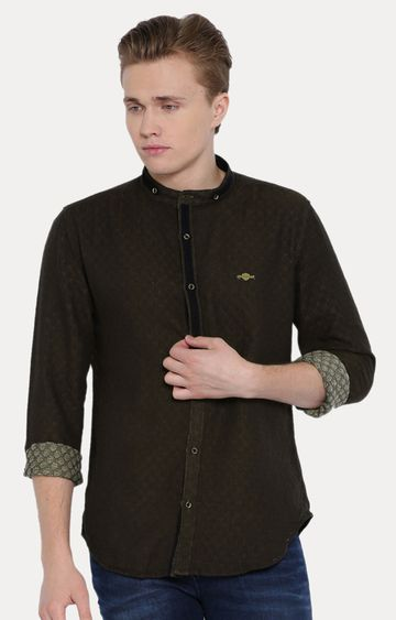 With | Brown Solid Casual Shirt