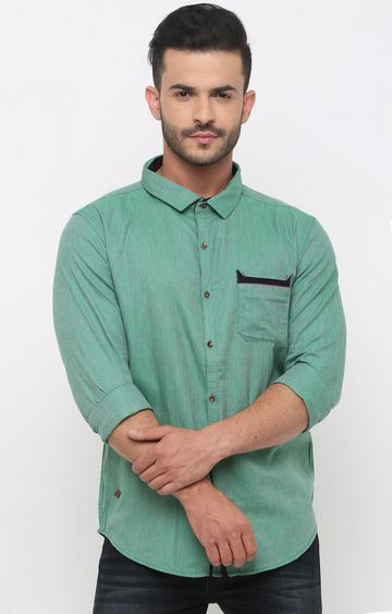 With | Green Melange Casual Shirt