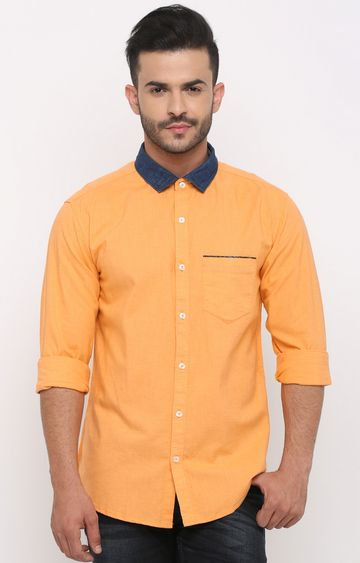 With | Orange Solid Casual Shirt