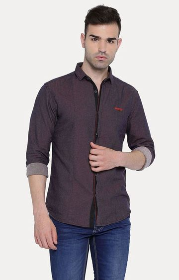 With | Burgundy Solid Casual Shirt