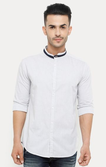 With | Light Grey Striped Casual Shirt
