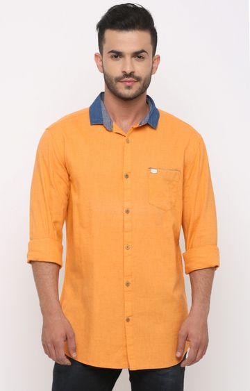 With   Orange Melange Casual Shirt