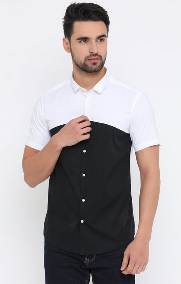 With | Black and White Colourblock Casual Shirt