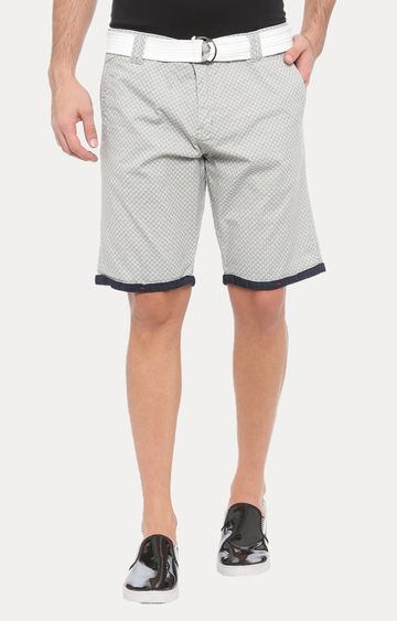 With | Grey Printed Shorts