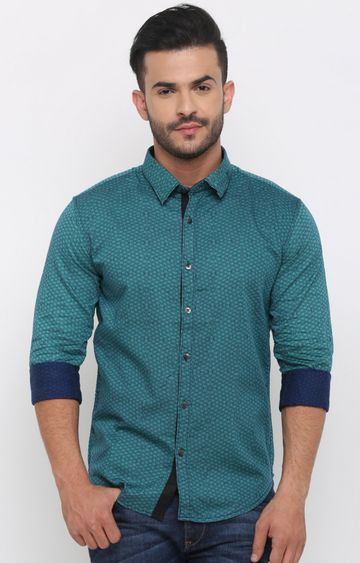With   Green Printed Casual Shirt
