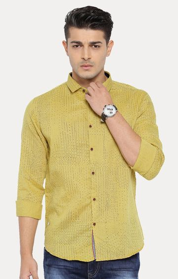 With | Mustard Patterned Casual Shirt