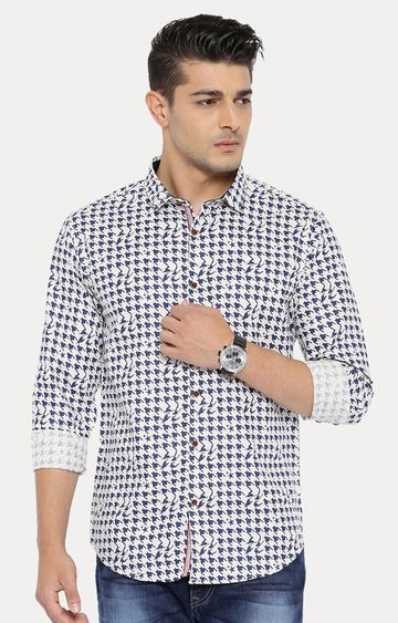 With | Off White and Blue Patterned Casual Shirt