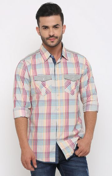With | Multicoloured Checked Casual Shirt