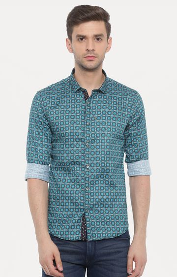 With | Green Printed Casual Shirt