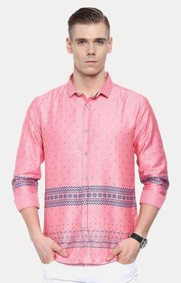 With   Pink Printed Casual Shirt