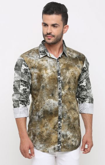With | Olive Printed Casual Shirt
