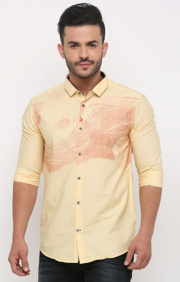 With | Yellow Printed Casual Shirt