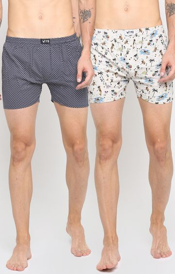 With | White and Black Printed Boxers - Pack of 2