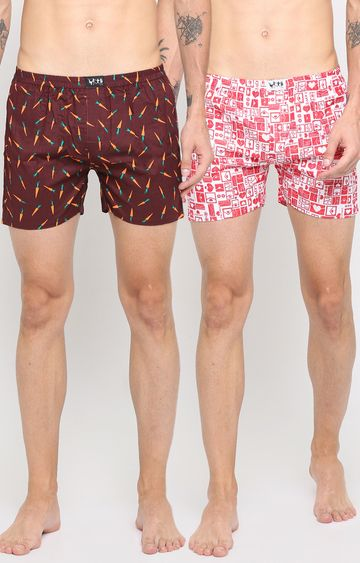 With | Brown and Red Printed Boxers - Pack of 2