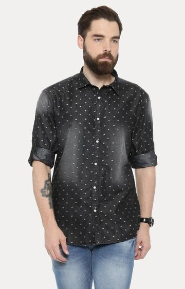 With | Charcoal Printed Casual Shirt