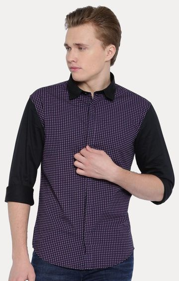 With | Black and Purple Printed Casual Shirt