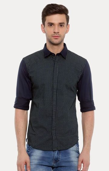With | Green and Navy Printed Casual Shirt