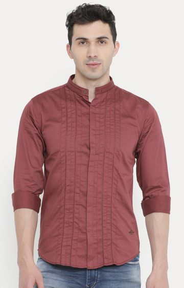 With | Maroon Striped Casual Shirt