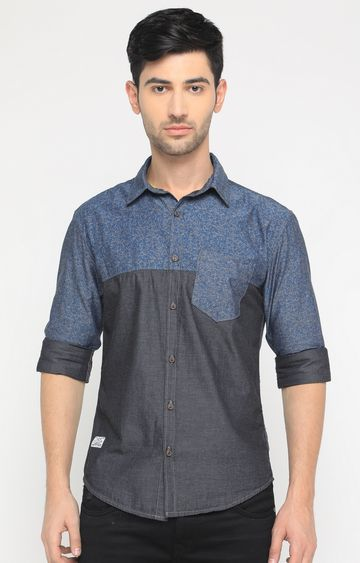 With   Grey and Blue Printed Casual Shirt