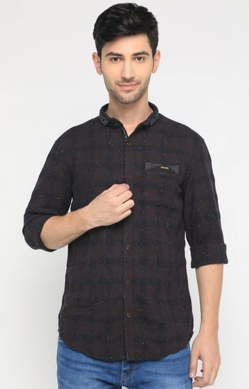 With | Brown Checked Casual Shirt