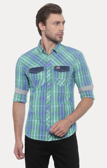 With | Green and Blue Checked Casual Shirt