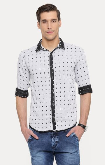 With | Light Grey Printed Casual Shirt