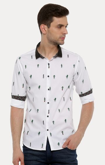With | White and Green Printed Casual Shirt