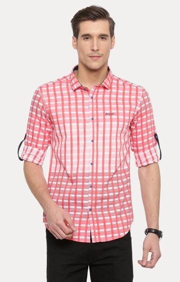 With | Pink Checked Casual Shirt