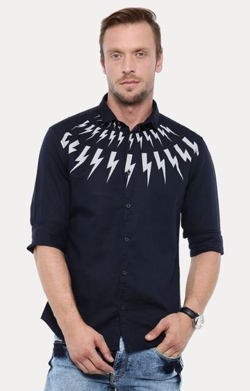 With | Navy Printed Casual Shirt
