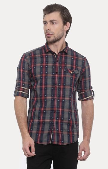 With | Navy and Red Checked Casual Shirt