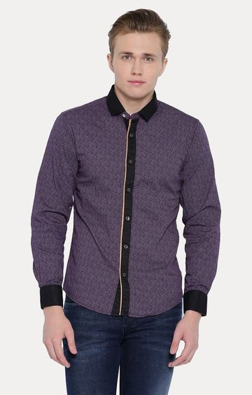 With | Purple Printed Casual Shirt