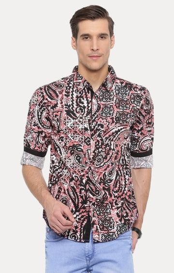 With | Black and Pink Printed Casual Shirt