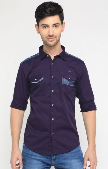 With | Purple Solid Casual Shirt