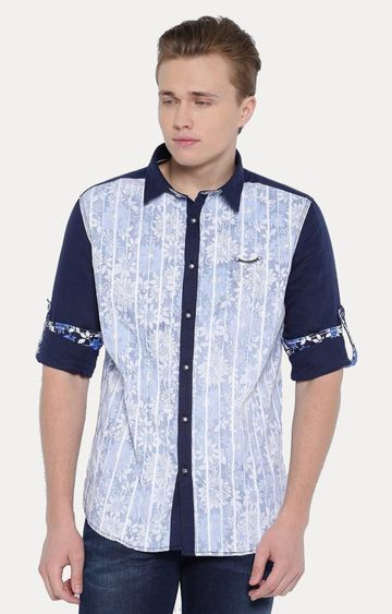 With | Blue Printed Casual Shirt