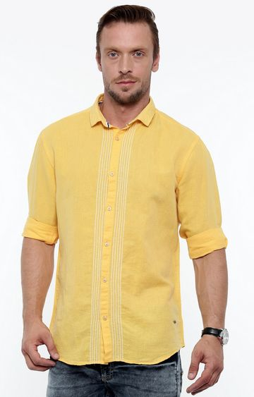 With | Yellow Melange Casual Shirt